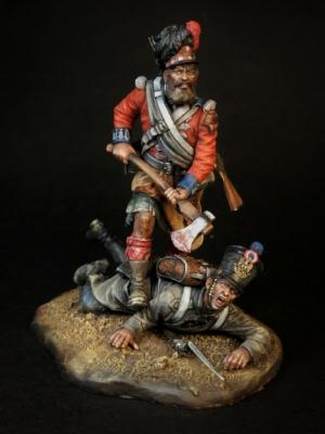 "Sapper of the 42nd Royal Highlander regiment of foot ""Black Watch"" & a french infantryman, 1815"