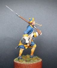 Swedish musketeer of infantry regiments on march, 1700-21