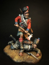 """Сапер 42-го (Королевских Шотландских горцев) пехотного полка """"Черная Стража"""" и французский пехотинец, 1815 г."""